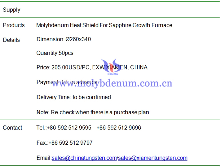 molybdenum heat shield price image