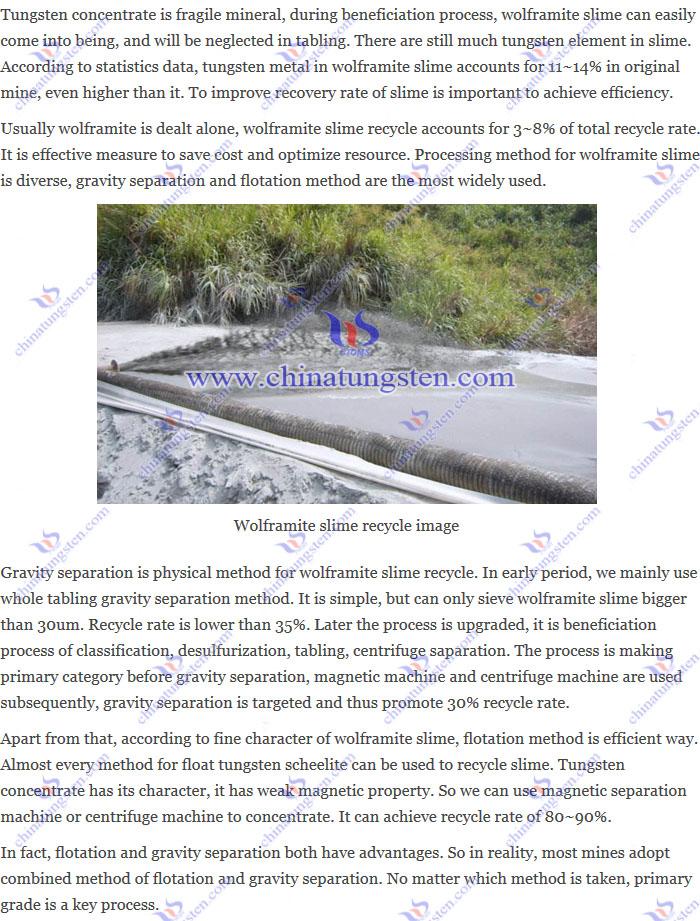 wolframite slime recycle image