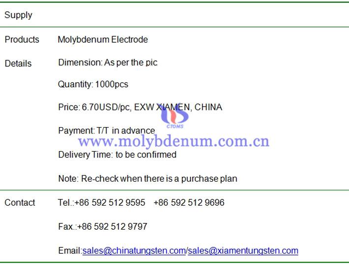 molybdenum electrode price image