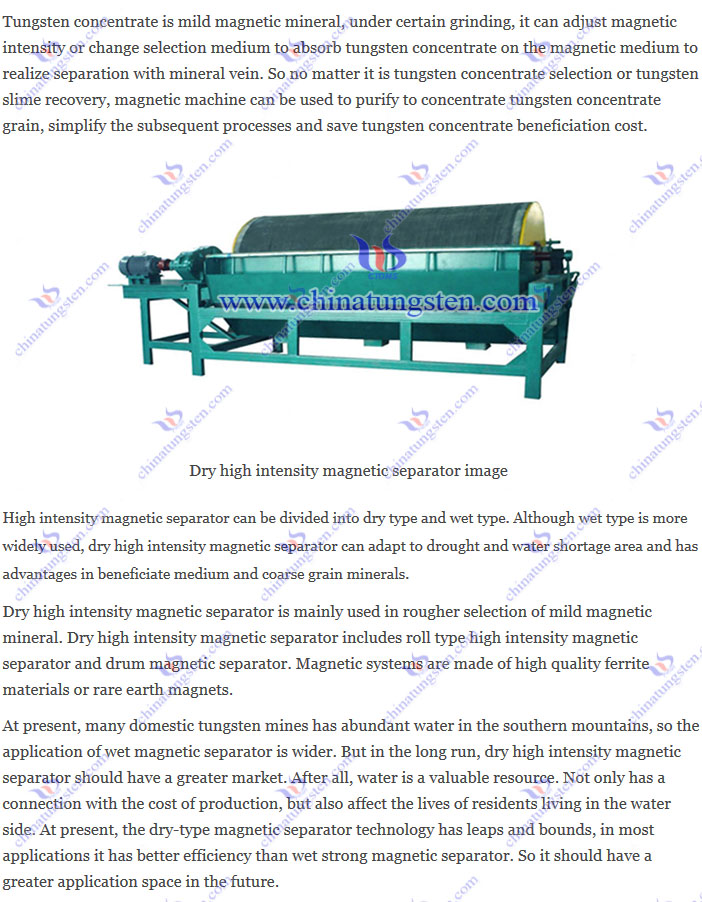 Dry high intensity magnetic separator image