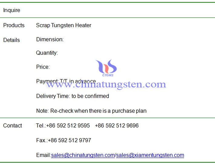 Inquire Scrap Tungsten Heater on May 15, 2018 - China