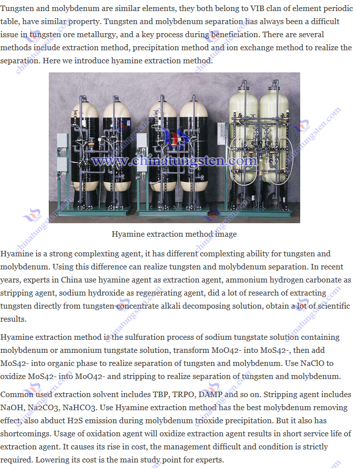 tungsten and molybdenum separation – hyamine extraction method image
