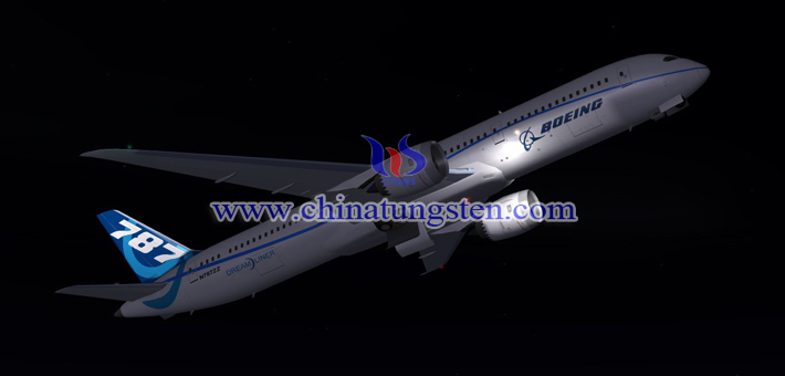 Boeing 787 flying at night picture