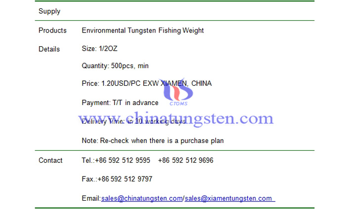 environmental tungsten fishing weight price picture