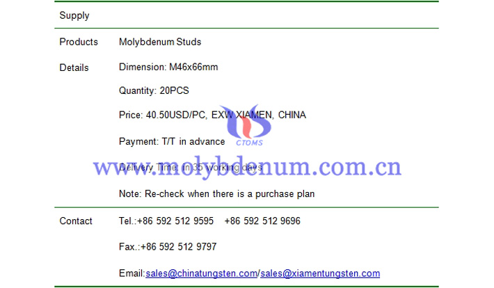 molybdenum studs price picture