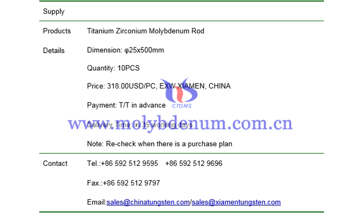 titanium zirconium molybdenum rod price picture