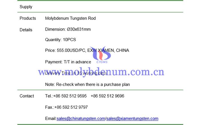 molybdenum tungsten rod price picture