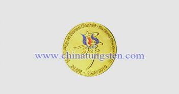 钨合金镀金纪念币图片