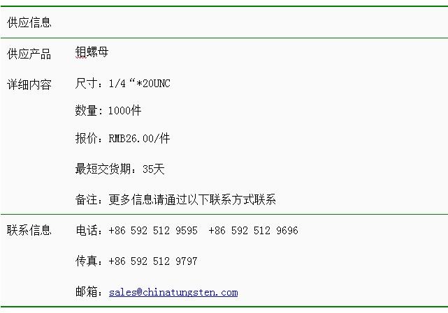 钼螺母价格表图片