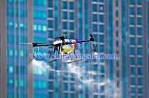 曼谷上空无人机在喷洒淨化空气的化学剂
