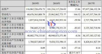 洛钼2019年主要财务数据