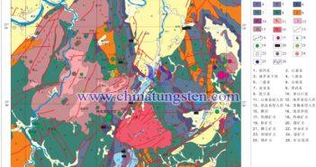 黄婆地钨锌多金属矿区域地质构造及矿产分布图