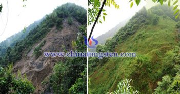 楠木峡钨矿废弃矿山治理前后对比