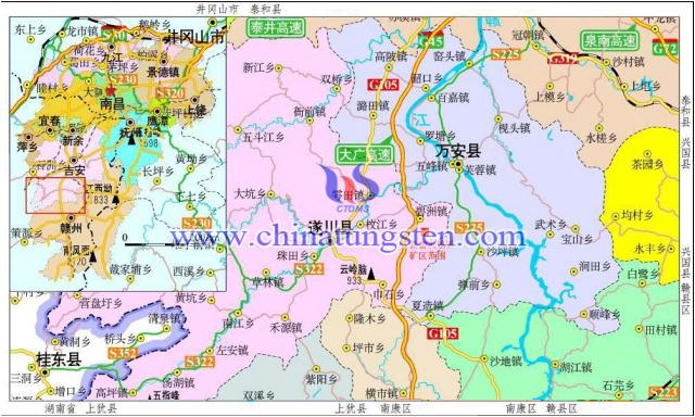 遂川县良碧洲钨矿交通地理位置
