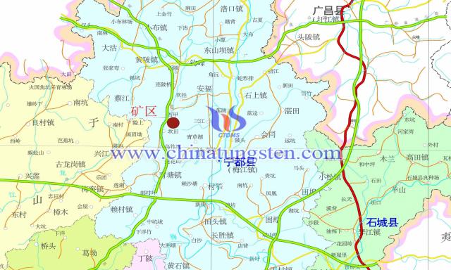 廖坑钨矿交通地理位置